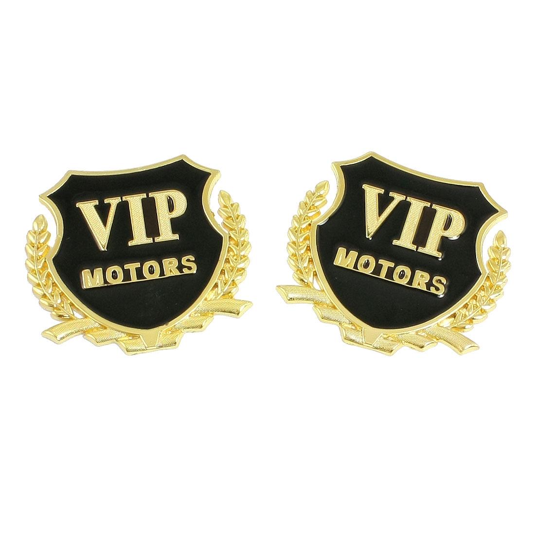 Unique Bargains Unique Bargains 2 x Car Exterior Decor 3D VIP Letters Decal Badge Sticker Emblem Gold Tone Black