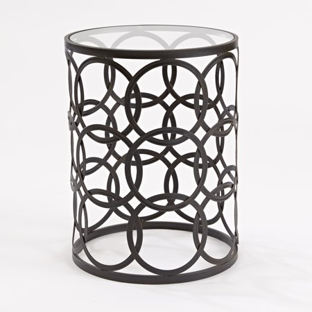 FirsTime & Co. Interlocking Circles Side Table with Glass Tabletop, Oil Rubbed Bronze Finish ()