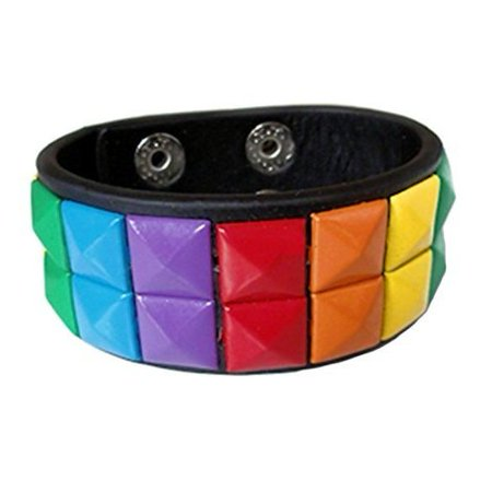 Gay Rainbow Sisters Gay Pride Leather Bracelet Double Studded Cuff (Gay Pride Jewelry Wholesale)