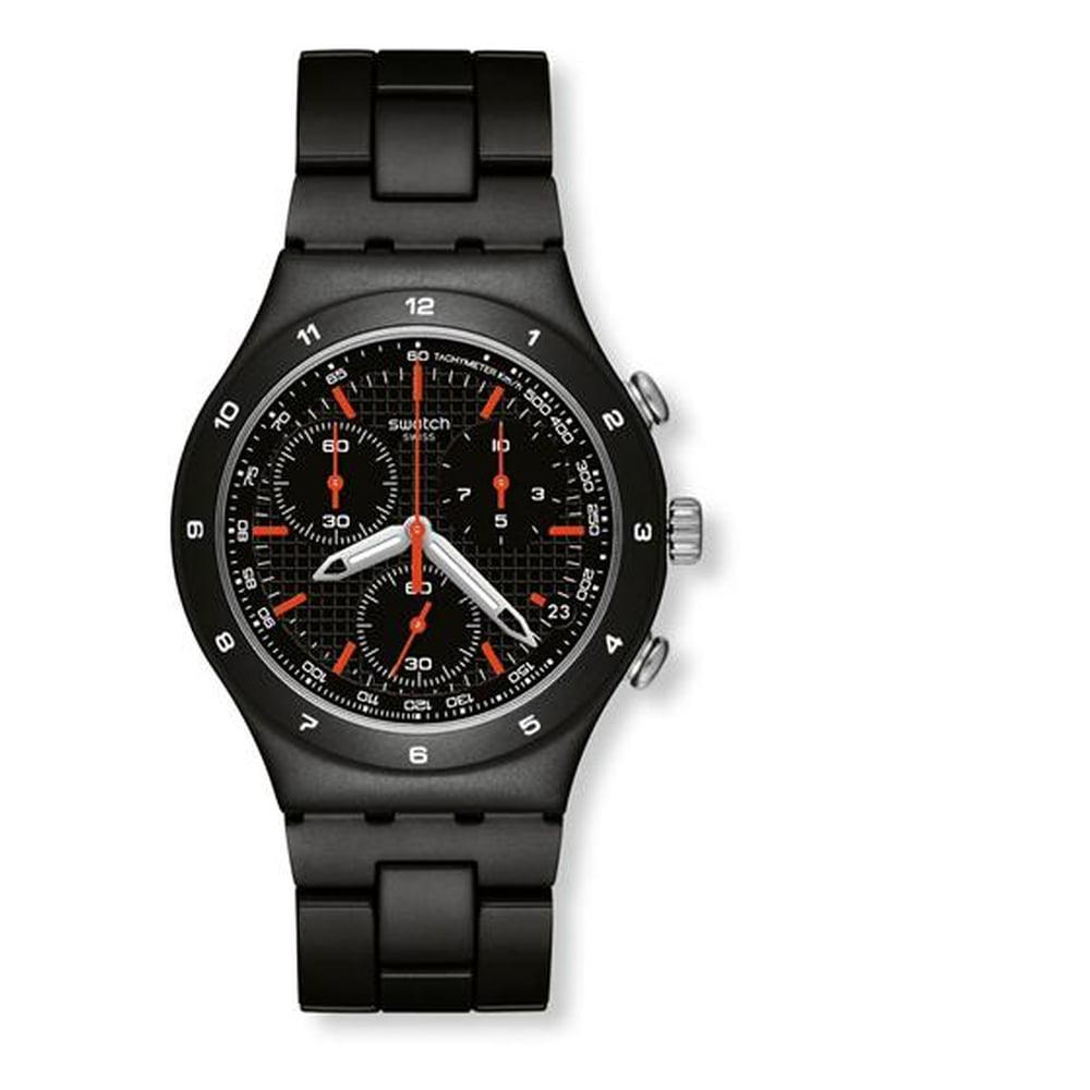 Swatch YCB4019AG Black Coat Men's Analog Display Quartz W...