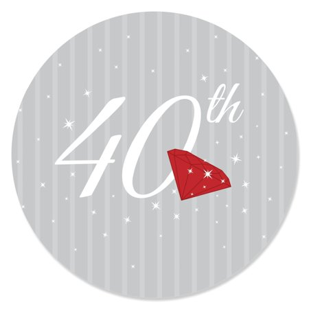 40th Anniversary - Party Circle Sticker Labels - 24 Count - 40th Anniversary Party Decorations