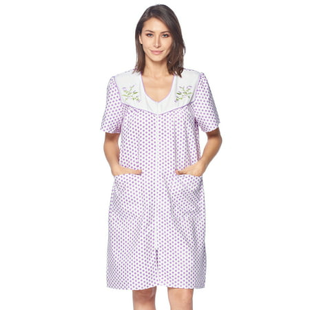 Casual Nights Women's Zipper Front House Dress Short Sleeves Embroidered Seersucker Housecoat Duster Lounger