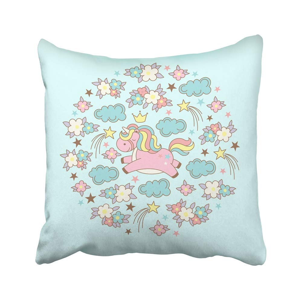 USART Cute Magic Kawaii Unicorn Clouds Flowers and Stars on Blue for Congratulations Pillow Case Pillow Cover 16x16 inch Throw Pillow Covers