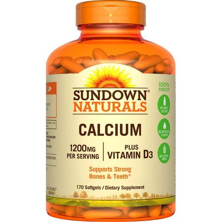 Fiber Supplement Plus Calcium - Sundown Naturals Calcium plus Vitamin D3 Softgels, 1200 Mg, 170 Ct