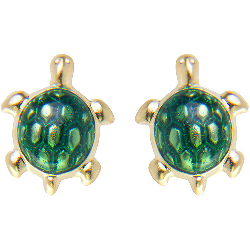 Disney 14kt Gold Green Enamel Turtle Stud Earrings