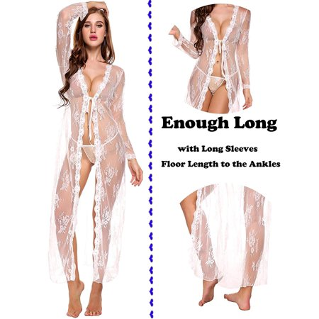 Reactionnx See Through Full Outfit Long Sexy Lace Kimono Mermaid Lingerie Dress Cardigan for Photography Women](Intimate Outfits)