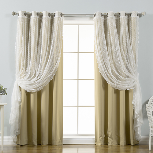 Wheat Lace and Solid 52 x 84 In. Blackout Window Treatments, Set of Four by