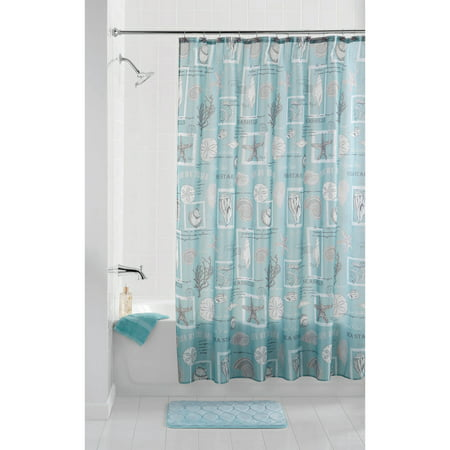 Mainstays Coastal Aqua 13 Piece Shower Curtain Set Hooks Included