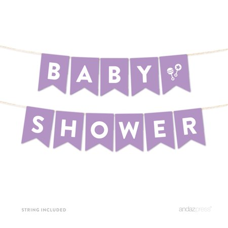 Baby Shower Lavender Girl Baby Shower Hanging Pennant Garland Party Banner