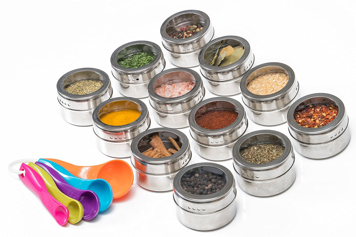 Delightful Nellam Spice Rack Magnetic Storage Jars For Spices   12 Pcs Stainless Steel  Kitchen Containers With