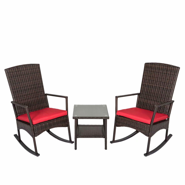 Kinbor 3Pcs Wicker Rattan Rocker Chair Side Tea Table Set Garden Rocking Lounge Chair w/Removable Cushion