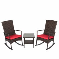 Kinbor 3Pcs Wicker Rattan Rocker Chair Side Tea Table Set Garden Rocking Lounge Chair w/Removable Cushion