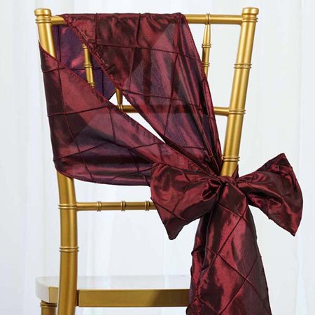 Efavormart 5 PCS x Pintuck Chair Sash for Wedding Events Banquet Decor Chair Bow Sash Party Decoration Supplies](Red Bandana Decorations)