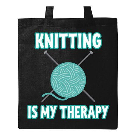 Knitting Is My Therapy Tote Bag Black One Size