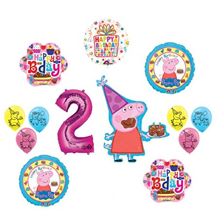 Peppa Pig 2nd Birthday Party Balloon supplies and decorations kit - Pepper Pig Birthday