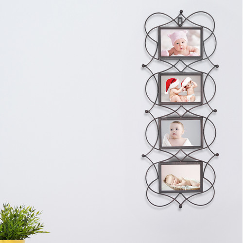 Adeco Trading 4 Opening Decorative Iron Metal Wall Hanging Collage Picture Frame