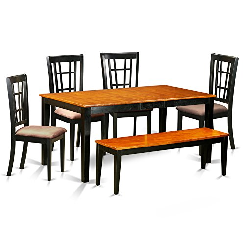 6 Pc Kitchen Table With Bench Set Table And 4 Kitchen Chairs And Bench Contemporary photo - 5