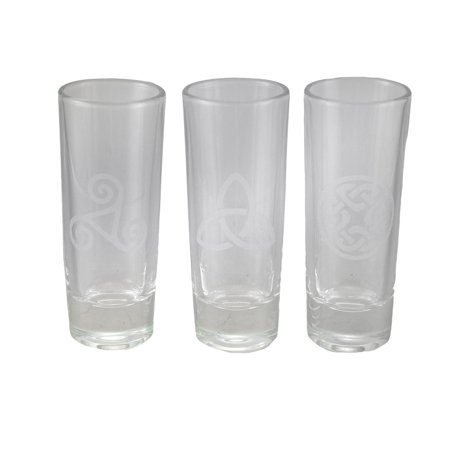 - Set of 3 Celtic Style Etched Glass Art Tall Shot Glasses