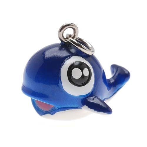 Hand Painted 3-D Blue Whale Charm 17.5mm Lightweight (1)