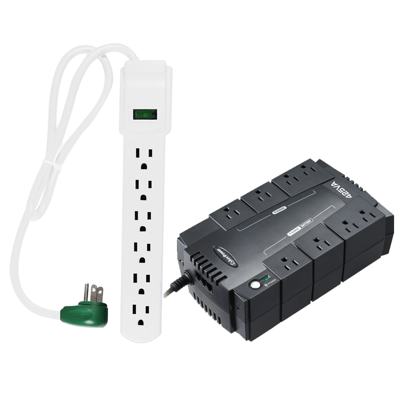CyberPower 425VA/225W Simulated Sine Wave Power Supply + 6-Outlet Surge Protector
