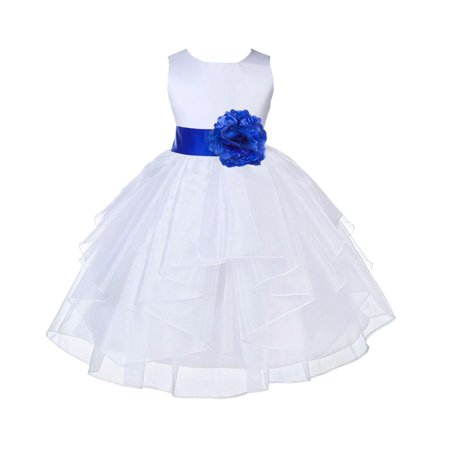 Ekidsbridal White Horizon Shimmering Organza Christmas Bridesmaid Recital Easter Holiday Wedding Pageant Communion Princess Birthday Clothing Baptism 4613S size 12-18 month Flower Girl Dress
