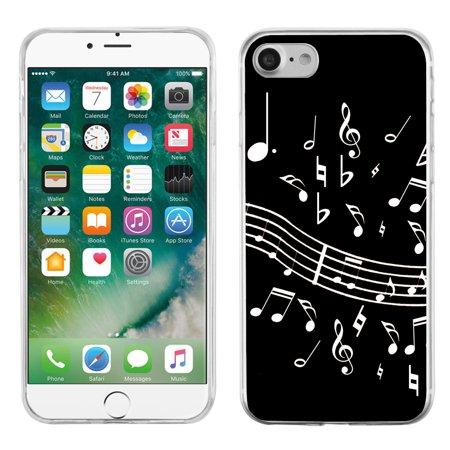 7 Music Notes (One Tough Shield ® Slim-Fit Premium TPU Gel Phone Case for Apple iPhone 7 - Music Notes /)