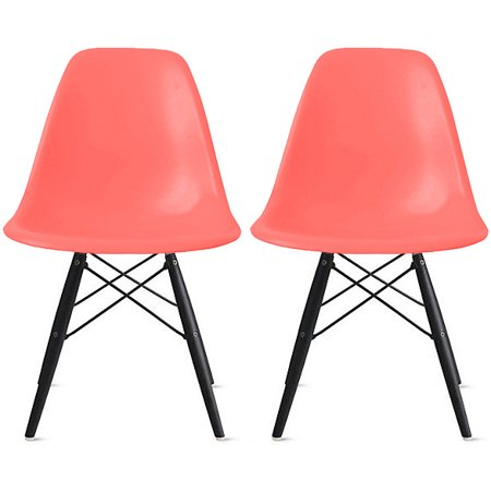 2xhome - Set of 2 (Two) Pink - Eames Style Side Black Dark Wood Legs Eiffel Dining Room Chair - Lounge Chair No Arm Armless Less Chairs Seats Molded Plastic ()