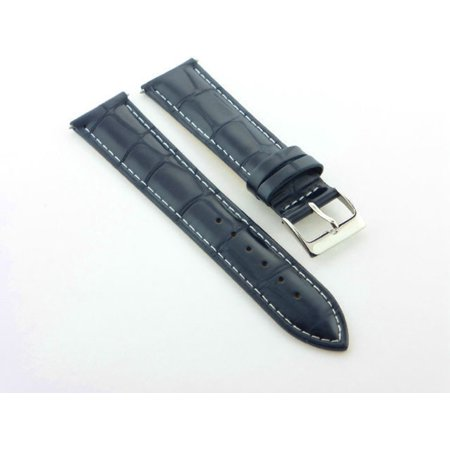 18MM NEW LEATHER WATCH STRAP BAND FOR CITIZEN DARK BLUE WHITE STITCHING (Leather Citizen Watch Band)