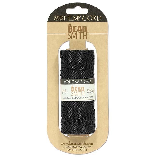 Natural Hemp Twine Bead Cord Black Color 0.55mm / 394 Feet (120 Meters)