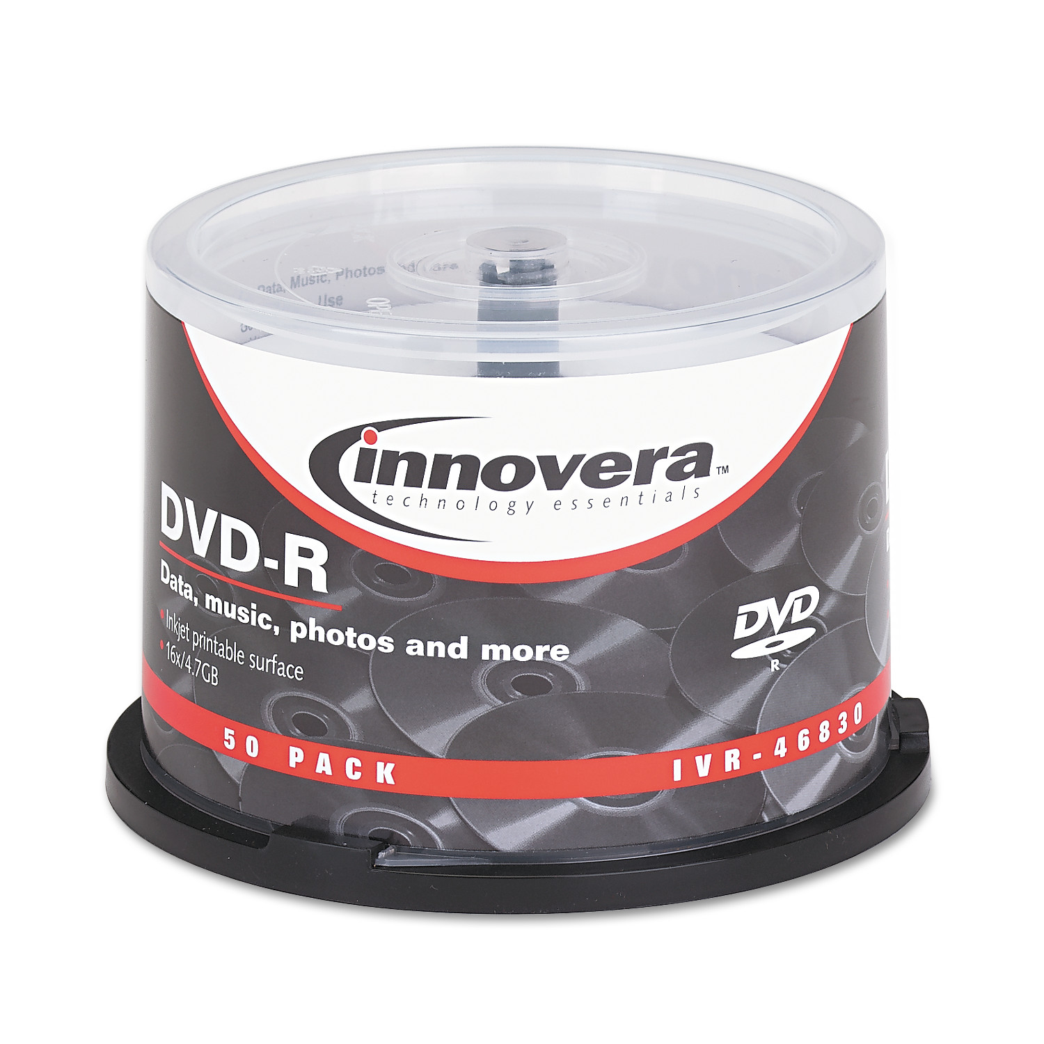 Innovera DVD-R Discs, Hub Printable, 4.7GB, 16x, Spindle, Matte White, 50/Pack -IVR46830