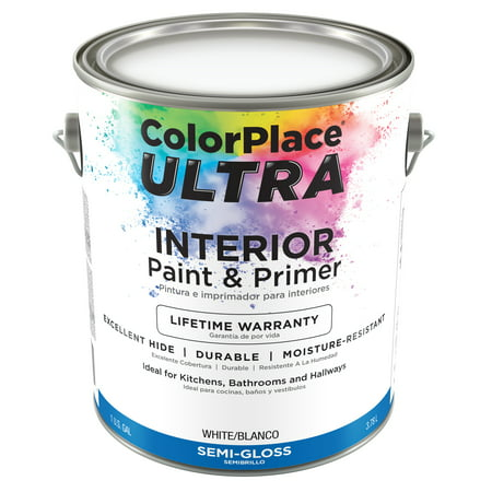 color place ultra semi gloss interior white paint primer 1 gal
