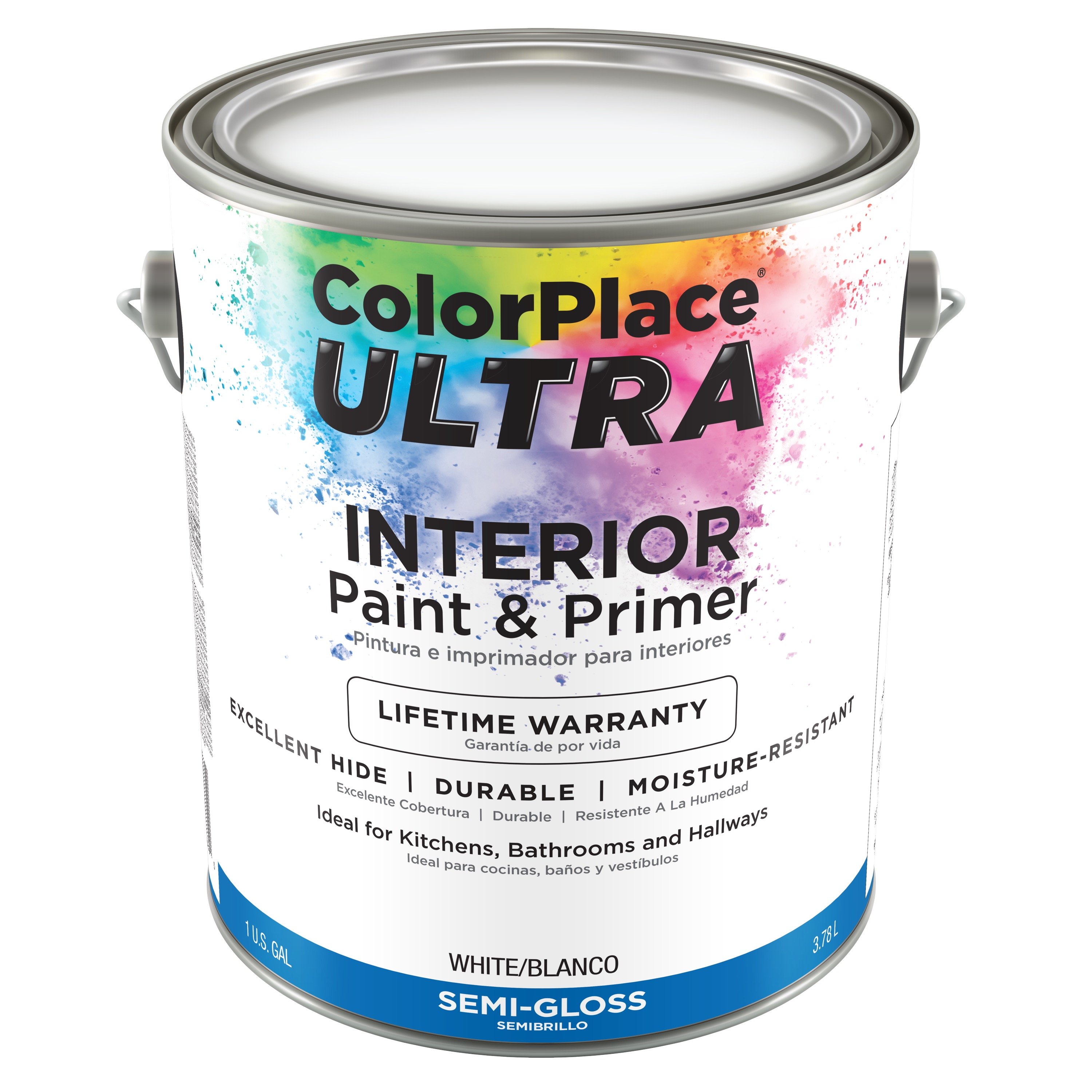 Color Place Ultra Semi-Gloss Interior White Paint & Primer, 1-Gal