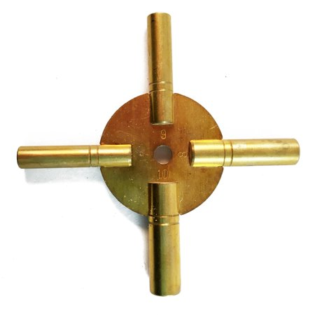 Universal Tool Antique Grandfather Brass Clock Key 4 Prongs - Even Numbers