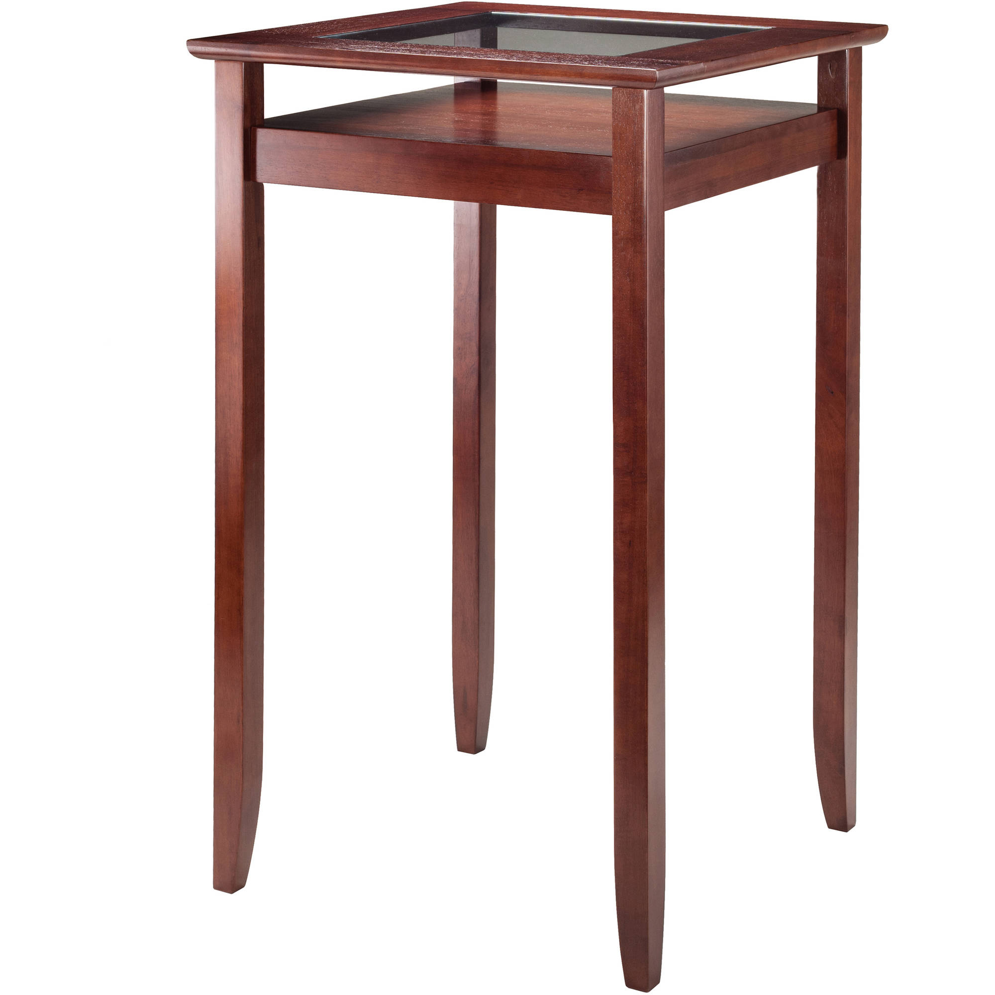 Halo Pub Table with Glass Inset and Shelf, Walnut by Winsome Wood