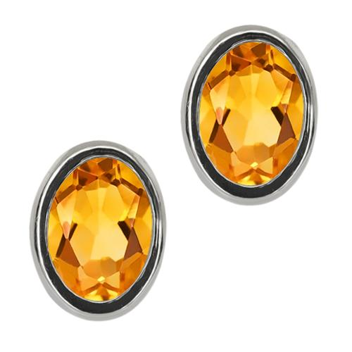 1.20 Ct Oval 7x5mm Yellow Citrine 925 Sterling Silver Stud Earrings
