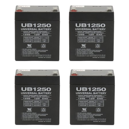 UB1250 12V 5AH Sealed Lead Acid Battery (SLA) .187 TT - 4 Pack