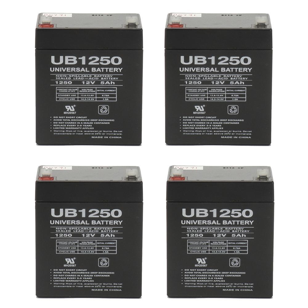 UB1250 12V 5AH Sealed Lead Acid Battery (SLA) .187 TT - 4 Pack