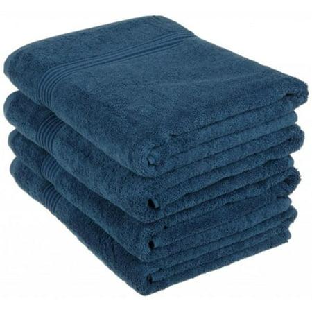 Coton -gyptien 4 pi-ces serviettes de bain sup-rieure - saphirs - image 1 de 1