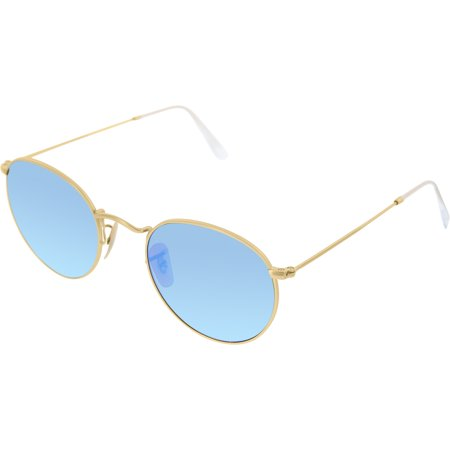 Ray-Ban Men's Mirrored RB3447-112/4L-50 Gold Round Sunglasses