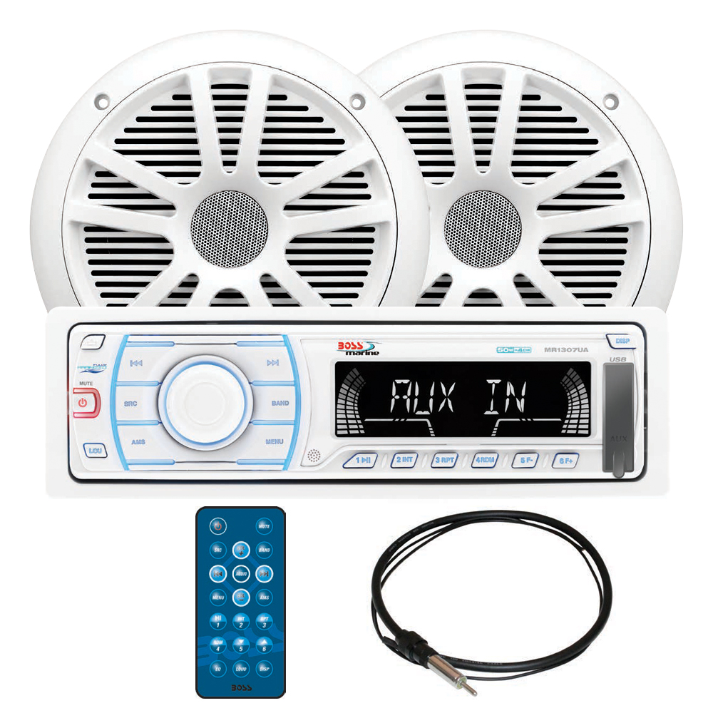 "Boss Audio Systems MCK1307W.6 White In-Dash Digital Media AM/FM Marine Stereo Receiver Package with 6-1/2"" Speakers"