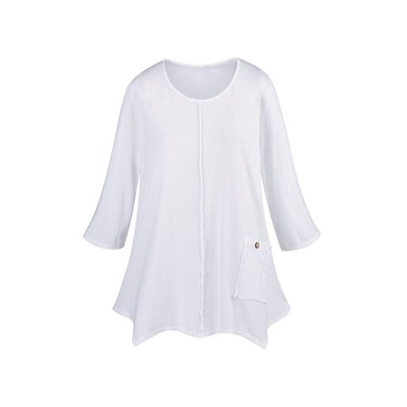 Fashion Single (Focus Fashions Women's Single Pocket Knit Tunic Top - 100% Supima Cotton )