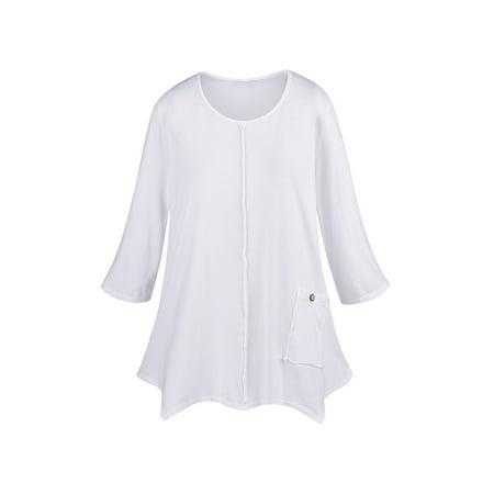 Focus Fashions Women's Single Pocket Knit Tunic Top - 100% Supima