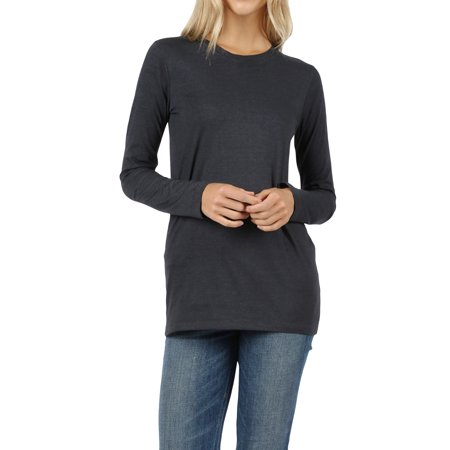 Women Basic Round Crew Neck Long Sleeve Stretch Cotton Spandex T-Shirts