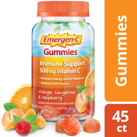 Emergen-C Gummies (45 Count, Orange, Tangerine and Raspberry Flavors) Immune Support with 750mg Vitamin C Dietary Supplement, Caffeine Free, Gluten
