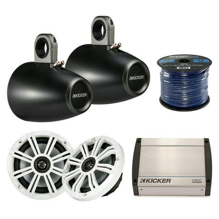 Marine Speaker And Amp Package: 2x Kicker 41KM604W 6.5