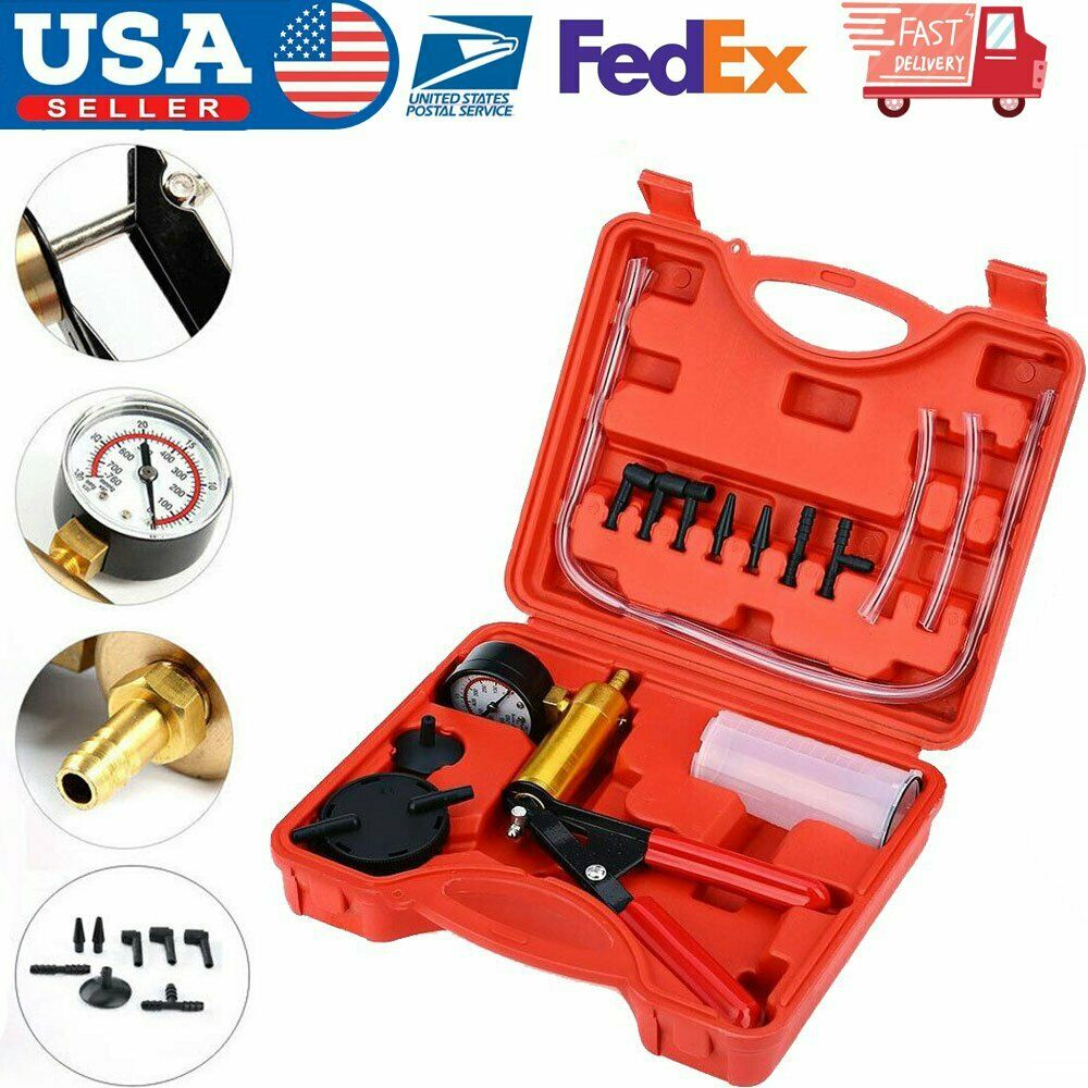 2 In 1 Brake Bleeder /& Vacuum Pump Gauge Test Tuner Kit Tools DIY Hand Tools Hot