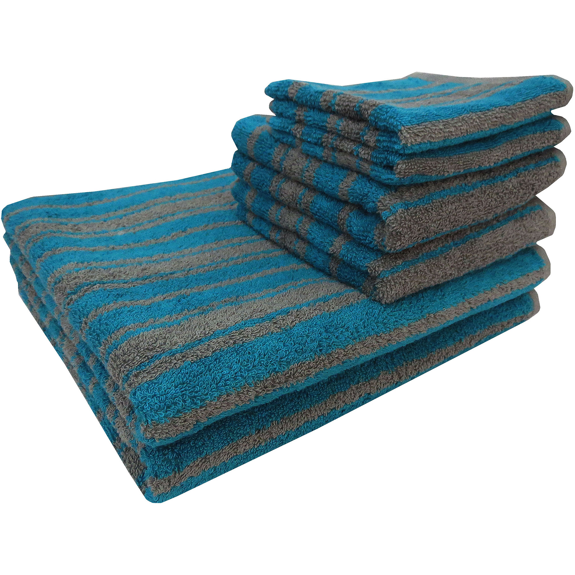 Mainstays Tc Yarn Dye 6 Pc Towel Set Teal/grey
