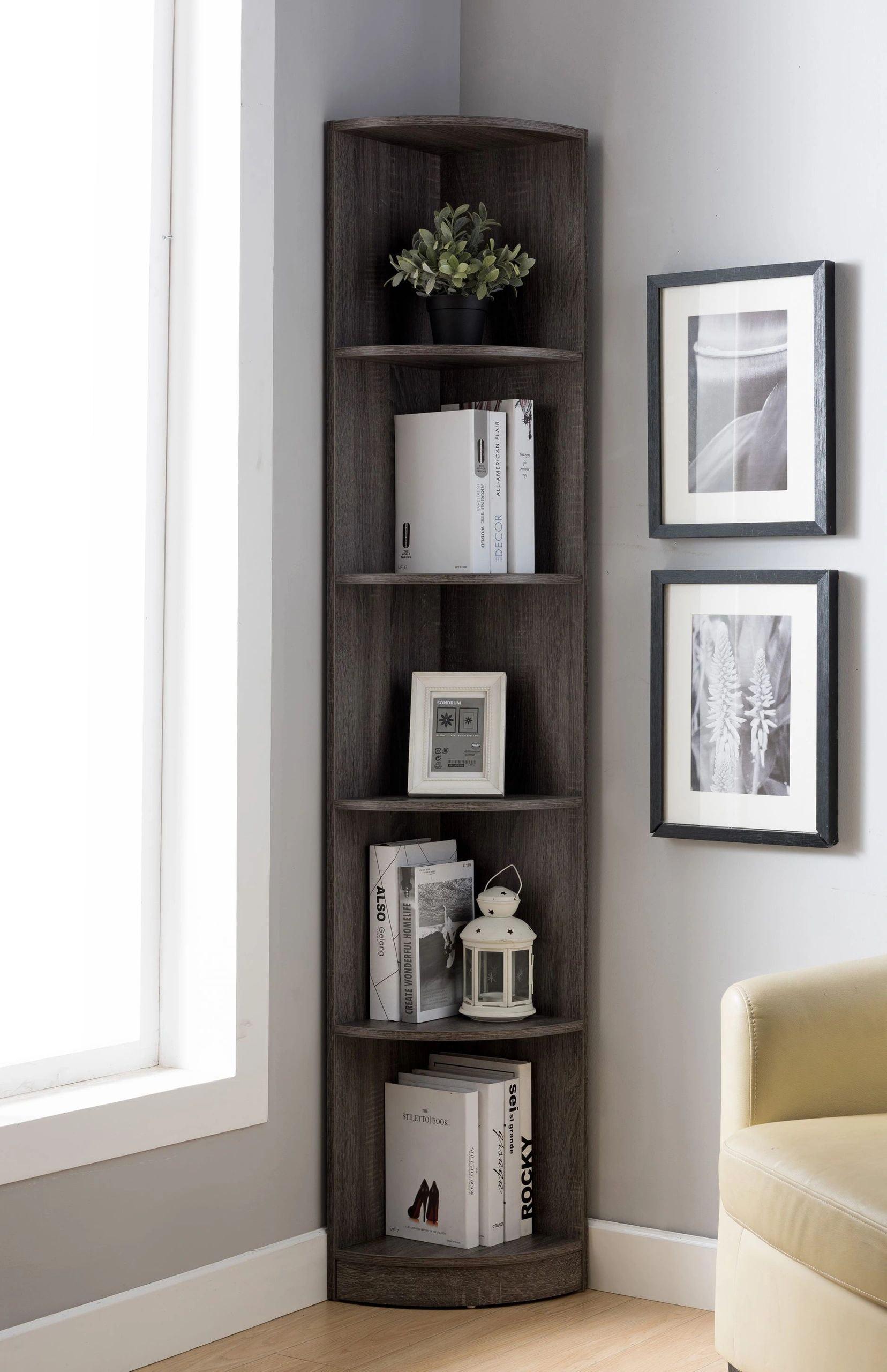 FC Design 5-Shelf Corner Bookcase in Distressed Grey ...