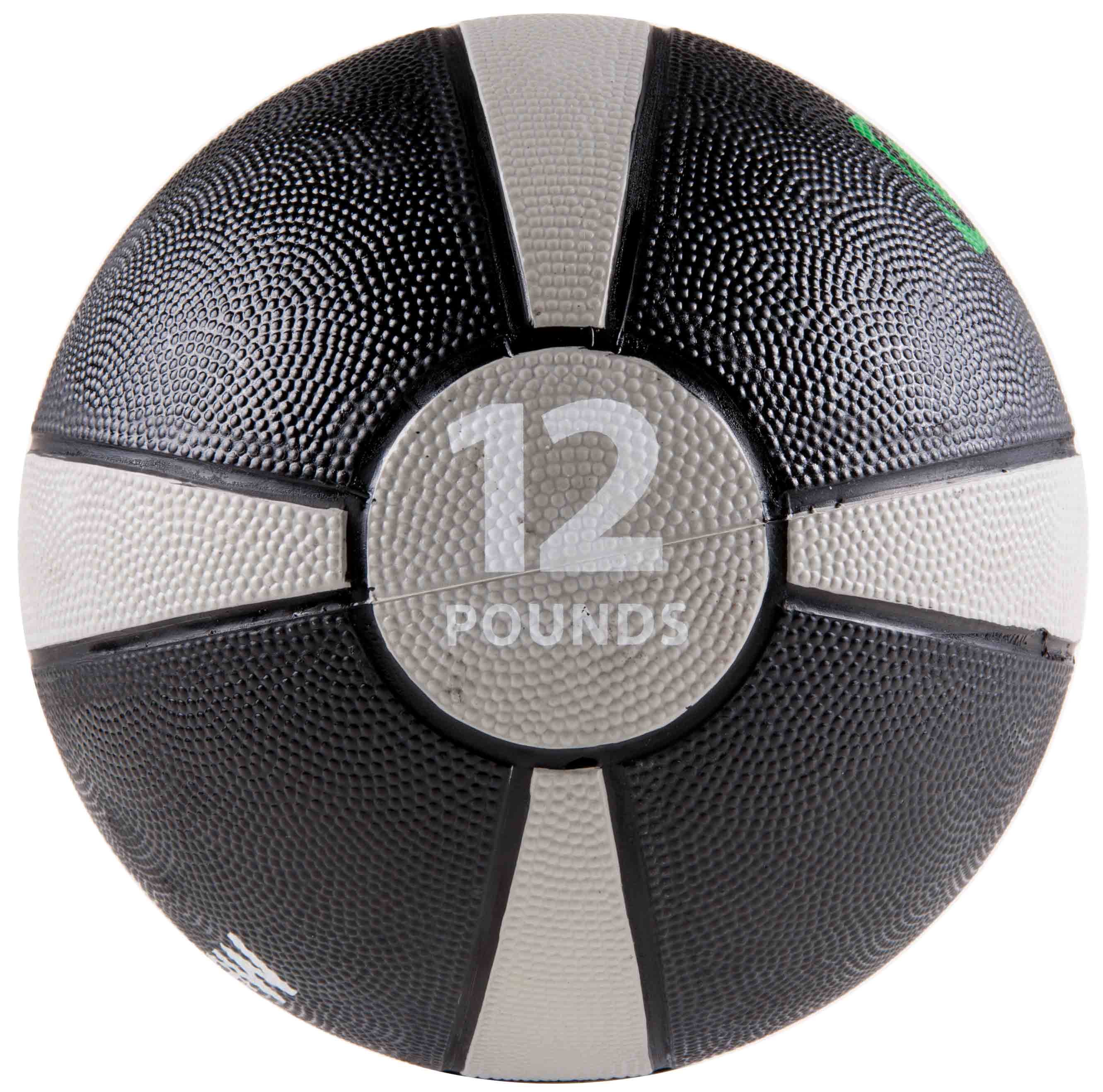 Rubber Medicine Ball with Training Manual - 12lb Grey/Black
