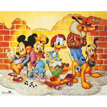Mickey Friends Brick Wall Poster Print By Walt Disney 20 X